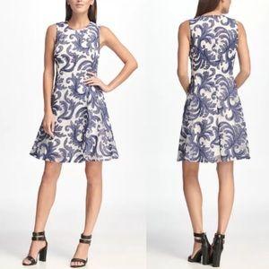 Dkny Dresses - DKNY Sleeveless Denim Print Mesh Fit & Flare Dress